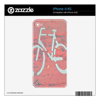 White Bicycle Red Street, Traffic Sign Bicycles Decals For The iPhone 4