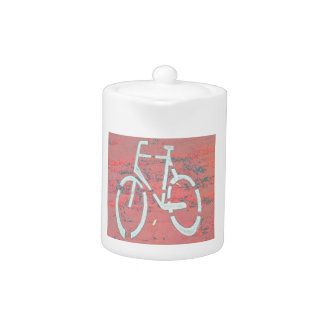 White Bicycle Red Street, Traffic Sign Bicycles Teapot