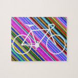 [ Thumbnail: White Bicycle Silhouette Shape, Multicolored Lines Jigsaw Puzzle ]