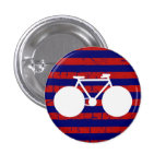 white bicycle striped 1 inch round button