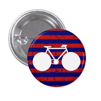 white bicycle striped pinback button