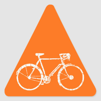 white bicycle triangle sticker