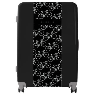 white-bicycles pattern, cycling cool black luggage