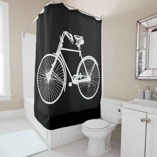 white  bike bicycle black Shower curtain