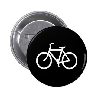White Bike Route 2 Inch Round Button