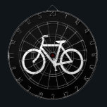 "White Bike Route Dart Board<br><div class=""desc"">White bike symbol based on a typical bike route sign. A nice gift for bicyclists. You can change the background color from black to your favorite color.</div>"