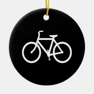 White Bike Route Double-Sided Ceramic Round Christmas Ornament