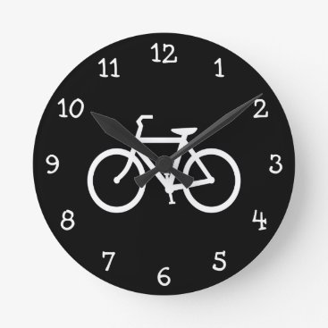 silhouette_emporium White Bike Route Round Clock