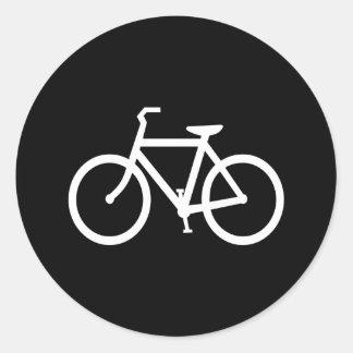 White Bike Route Round Stickers