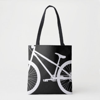 White Bike Silhouette Custom Color Tote Bag