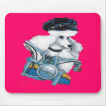 White Biker Chick Poodle - Customized - Customized Mouse Pad