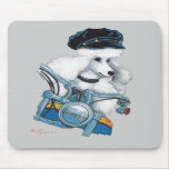 White Biker Chick Poodle - Customized Mouse Mat