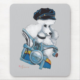 White Biker Chick Poodle - Customized Mouse Pad
