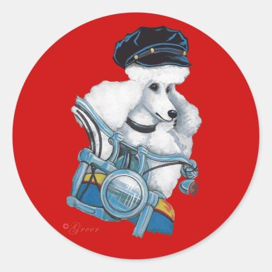 White Biker Chick Poodle Sticker