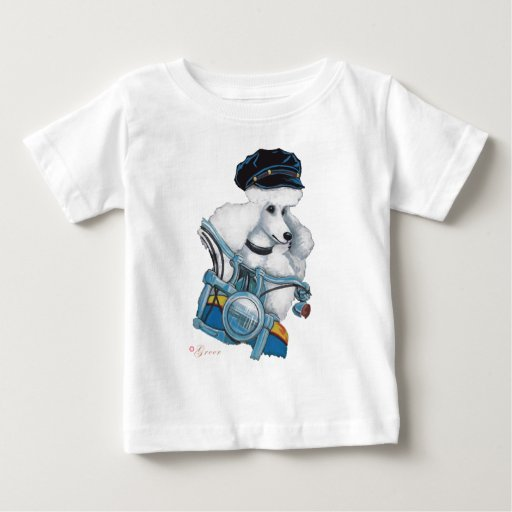 White Biker Chick Poodle Tees