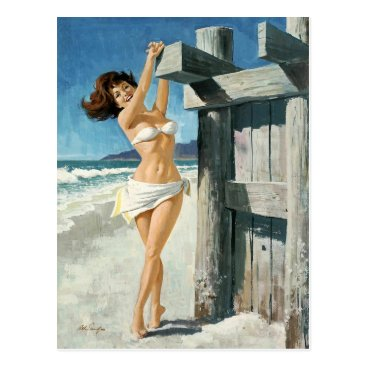 Beach Themed White bikini RK the beach Postcard