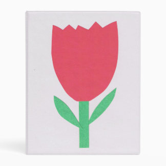 White Binder with Red Tulip