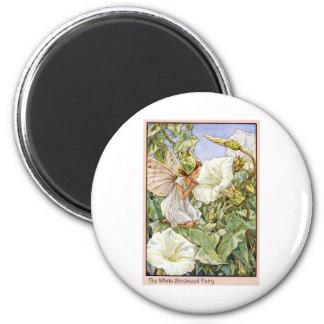White Bindweed Fairy 2 Inch Round Magnet