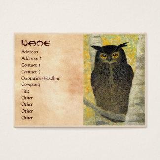 White Birch and Horned Owl Katsuda Yukio bird art Business Card
