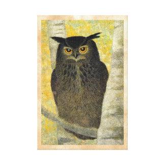 White Birch and Horned Owl Katsuda Yukio bird art Canvas Print