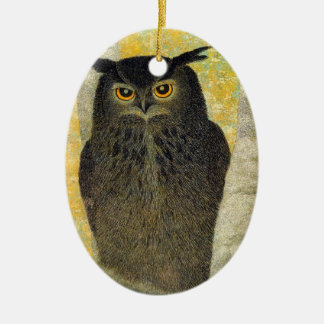 White Birch and Horned Owl Katsuda Yukio bird art Ceramic Ornament