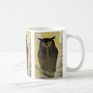White Birch and Horned Owl Katsuda Yukio bird art Coffee Mug