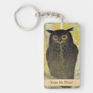 White Birch and Horned Owl Katsuda Yukio bird art Double-Sided Rectangular Acrylic Keychain