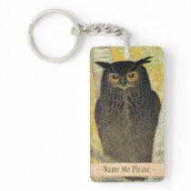 White Birch and Horned Owl Katsuda Yukio bird art Keychain