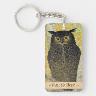 White Birch and Horned Owl Katsuda Yukio bird art Double-Sided Rectangular Acrylic Keychain