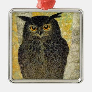 White Birch and Horned Owl Katsuda Yukio bird art Metal Ornament