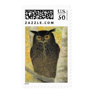 White Birch and Horned Owl Katsuda Yukio bird art Postage