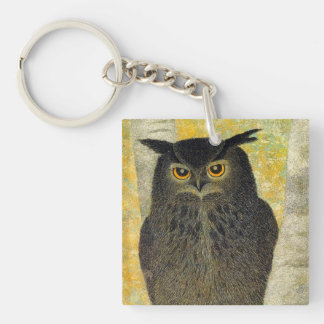 White Birch and Horned Owl Katsuda Yukio bird art Single-Sided Square Acrylic Keychain