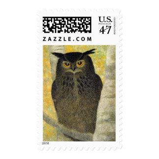White Birch and Horned Owl Katsuda Yukio bird art Stamp