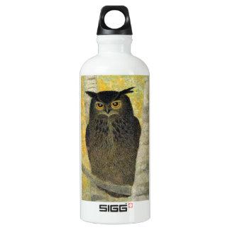 White Birch and Horned Owl Katsuda Yukio bird art Water Bottle