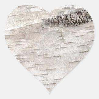 White Birch Bark Heart Stickers