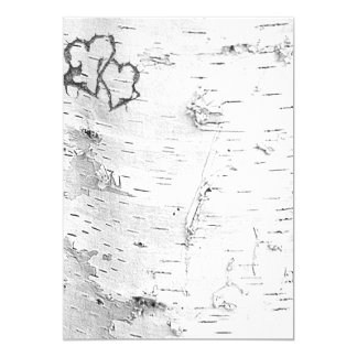 White Birch Bark Rustic Hearts Blank Paper Invitation