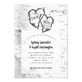 White Birch Hearts Nature Wedding Invitation