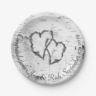 White Birch Hearts Wedding Shower Plates