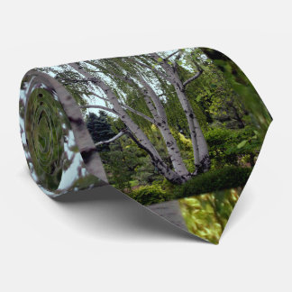 White Birch in Enchanted Lush Forest Tie