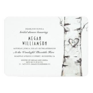 White Birch Tree Rustic Bridal Shower Card
