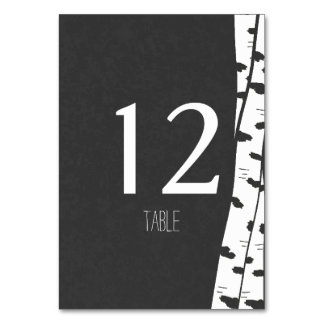 White Birch Tree Table Number Card