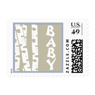 White Birch Trees Baby Blue Postage