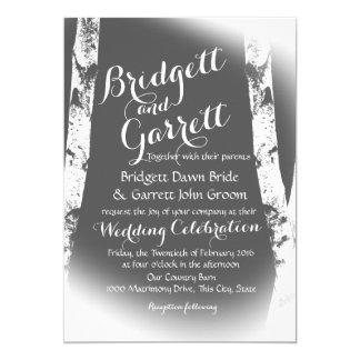 White Birch Trees Design Wedding Card