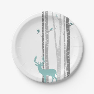 White Birch Trees with Deer and Birds 7 Inch Paper Plate
