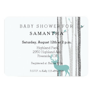White Birch Trees with Deer and Birds baby shower 5x7 Paper Invitation Card