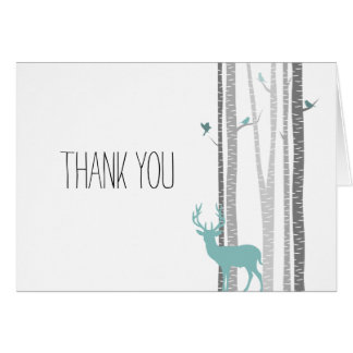 White Birch Trees with Deer and Birds Thank you Card