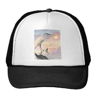 White Bird at beach sunset Hat