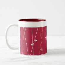 White Bird in Red Forest of Hearts Mug - Put your feet up and relax with your favorite drink in this simply adorable mug!