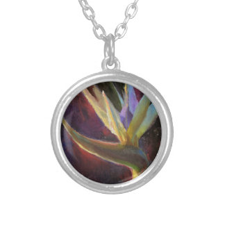 White Bird Of Paradise Hawaiian Tropical Flower Round Pendant Necklace