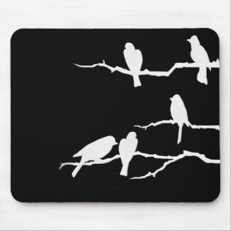 White Bird Silhouette Mousepad